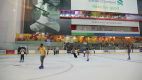Ice Rink inside of Dubai Mall stock footage