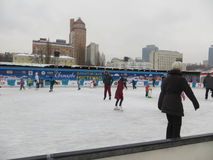 Ice Rink in Kiev.  Royalty Free Stock Photography