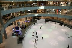 Ice Rink in the Mall. Ice Rink in the Dallas Galleria, an upscale shopping mall and mixed-use development located in north Dallas, Texas, U.S., was originally Royalty Free Stock Image