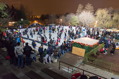 At ice rink in the night Royalty Free Stock Images