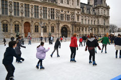Ice Rink in Paris Royalty Free Stock Photography