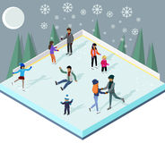 Ice Rink with People Isometric Style Stock Image
