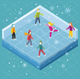 Ice Rink with People Isometric Style Royalty Free Stock Photo