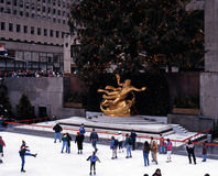 Ice rink and Prometheus statue, New York. Royalty Free Stock Photography
