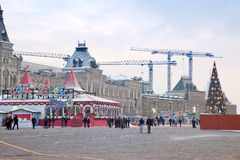 Ice rink on the Red Square, HDR. Christmas. Traditional winter ice rink on Red Square Royalty Free Stock Photography