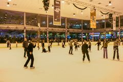 Ice rink in the shopping and entertainment center Stock Image