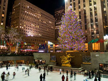 Ice Rink and Tree Rockefeller Center 08_5 Stock Photo