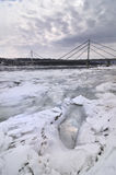 Ice on river. Danube river covered with ice and bridge behind Royalty Free Stock Images