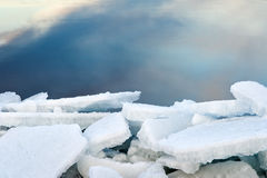 The ice on the river.  Royalty Free Stock Images