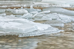 Ice on River. Close up of ice frozen on top of a flowing river Stock Photo
