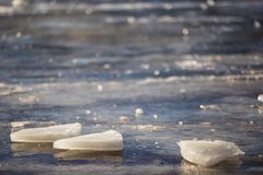 Ice on the river Dnieper. Landscape with the pieces of ice on the river Dnieper in the city of Kiev Royalty Free Stock Image