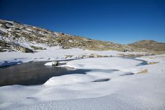 Ice river at Gredos Royalty Free Stock Photo