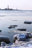 Ice on the river at the mouth Royalty Free Stock Photo