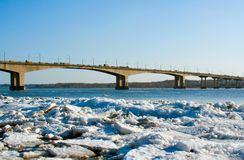 Ice on the river Volga stock photos