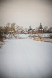 Ice River. Winter Church Ice River Background Travel Landscape City Village Panorama Nature Royalty Free Stock Image