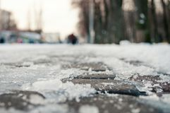 Ice on the road snow winter cold Stock Image