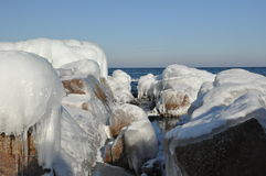 Ice on The Rock Stock Image