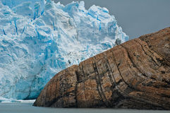 Ice and Rock. The Perito Moreno Glacier. Los Glaciares National Park, Patagonia, Argentina stock photos