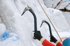 Ice rock-climbing. Vertical ice wall for rock-climbing Royalty Free Stock Image