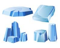 Ice rock, iceberg or icy frozen snow mountain vector icons set Royalty Free Stock Photos