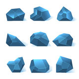 Ice rock pieces vector set. Nature crystal or mineral in blue color illustration Stock Photos