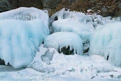 Ice on rock Siberia Russia in winter season royalty free stock photo
