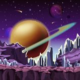 Ice rocks on cartoon planet scenery. Of landscape with falling comets and jupiter star with belt at sky. Relief or terrain panorama. Space and sci-fi, galaxy Stock Images