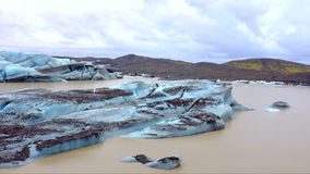 Ice rocks floating on Jokulsarlon lagoon in Iceland stock video footage