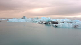 Ice rocks floating on Jokulsarlon lagoon in Iceland stock footage