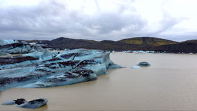Ice rocks floating on Jokulsarlon lagoon in Iceland stock video