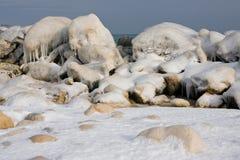 Ice rocks on sea coast in winter royalty free stock photo