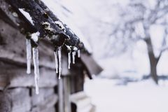 Ice on Roof Stock Image