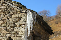 Ice on the roof of the house Royalty Free Stock Images