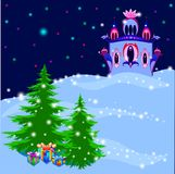 Ice Royal Palace in magic winter illustration, vector Stock Images