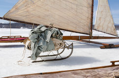 Ice Sailboat and Sled with Canvas Sheets. Stock Photography