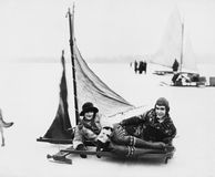 ICE SAILING. (All persons depicted are no longer living and no estate exists. Supplier grants that there will be no model release issues Stock Photography