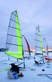 Ice sailing boats. With transparent sails at sunset Stock Photography
