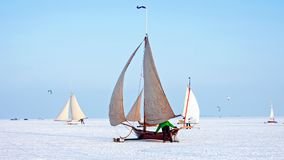 Ice sailing on a cold winter day on the Gouwzee in the Netherlan Royalty Free Stock Photo