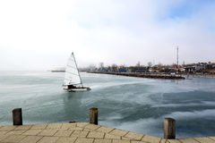 Ice sailing on frozen Lake Balaton Stock Photo