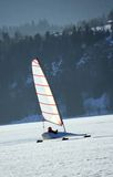 Ice sailing on a frozen lake, Switzerland Stock Photography