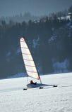 Ice sailing on a frozen lake, Switzerland. Ice sailing on the frozen lake, Joux valley, Switzerland Stock Photography