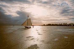 Ice sailing on the Gouwzee in the Netherlands. At sunset Stock Images