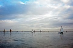 Ice sailing on the Gouwzee in the Netherlands. At sunset Royalty Free Stock Image
