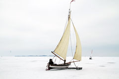 Ice sailing on the Gouwzee in the Netherlands. In winter Royalty Free Stock Photography