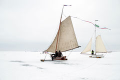 Ice sailing on the Gouwzee in the Netherlands. In winter Stock Photography