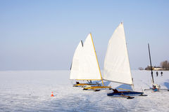 Ice sailing on Lake Balaton. In Hungary during a very cold winter Royalty Free Stock Photography