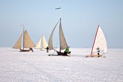Ice sailing in the Netherlands. Ice sailing on the Gouwzee in the Netherlands Royalty Free Stock Photo