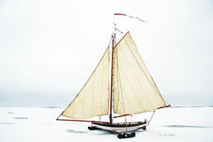 Ice sailing in the Netherlands. Ice sailing on the Gouwzee in the Netherlands Stock Images