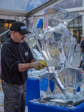 Ice sculpting at Sculpture Festival Stock Photos