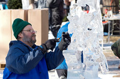 Ice Sculptor at Winter Carnival Royalty Free Stock Photography